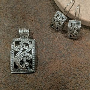 Silpada silver Paisley charm and earring set